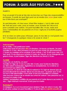 Ezine 3 - French Level 3 – How old do you have to be? – Forum: À Quel Âge Peut-On...?