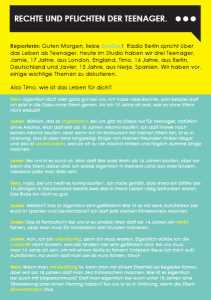 Ezine 3 - German Level 3 – How old do you have to be? – Rechte Und Pflichten Der Teenager